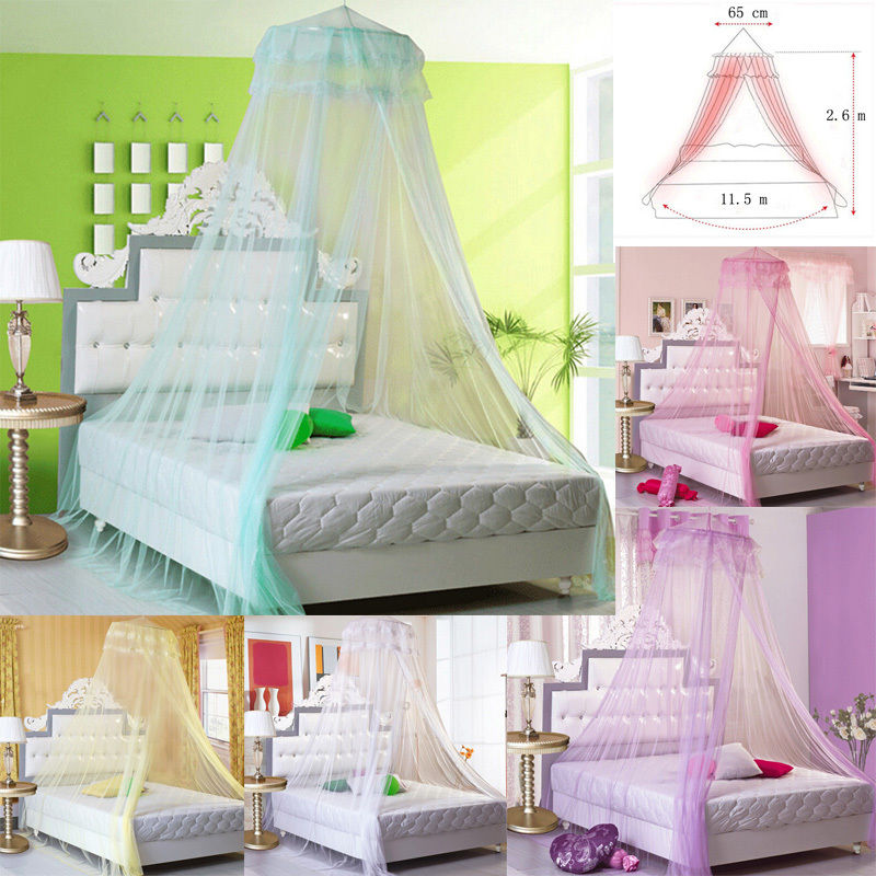 Home Textile Good 2017 New Elegant Lace Princess Bed Mosquito Netting Mesh Canopy Round Dome Bedding Net
