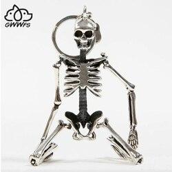 Складная подвеска в виде скелета, брелок для мужчин и женщин, античный серебряный цвет, металлический сплав, сумка в виде черепа, брелок для ...