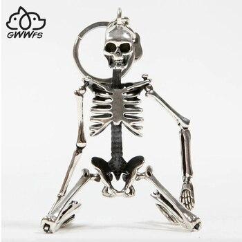 Faltbare Skeleton Anhänger Schlüssel Kette Für Männer Frauen Antike Silber Farbe Metall Legierung Schädel Tasche Charme Schlüssel Ring Auto Keychain schlüsselring