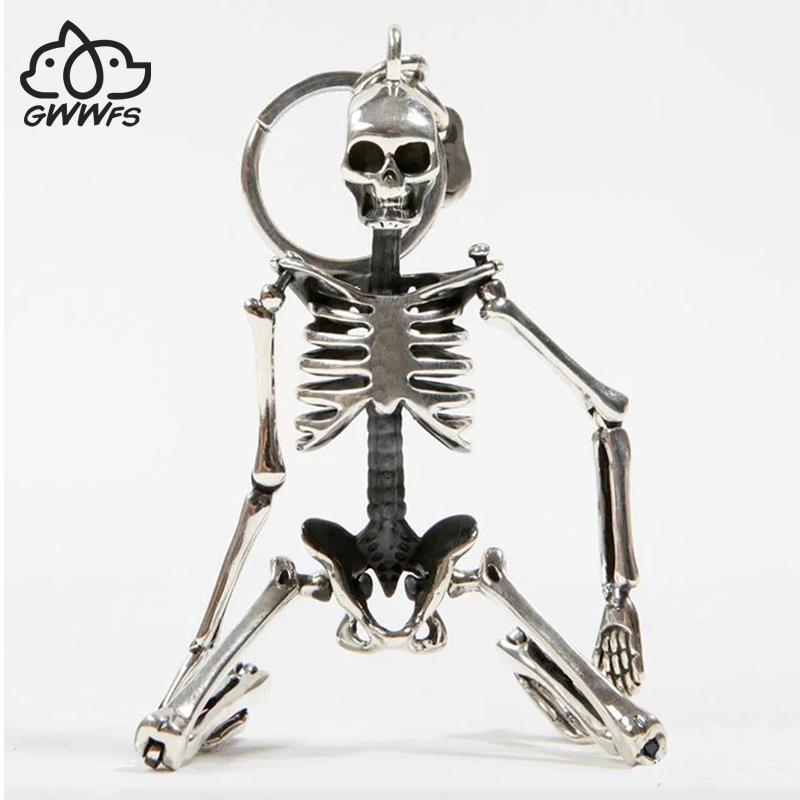 Opvouwbaar skelet hanger sleutelhanger voor mannen vrouwen antiek zilver kleur metalen schedel tas charme sleutelhanger auto sleutelhanger sleutelhanger