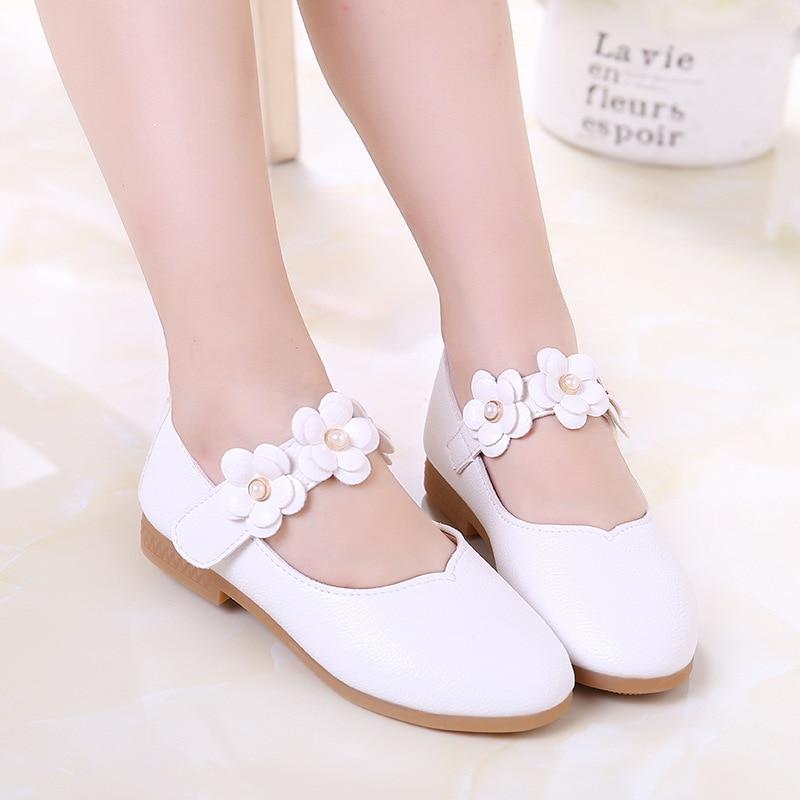 Primavera otoño niños niña zapatos casuales zapatos de cuero de las niñas zapatos zapatillas de deporte de los niños flores princesa zapatos de fiesta de moda 21-36