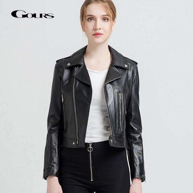 Gours Genuine Leather Jackets for Women Fashion Short Motorcycle Jacket Black Red Classic Punk Style Ladies Sheepskin Coats 227 leather jacket