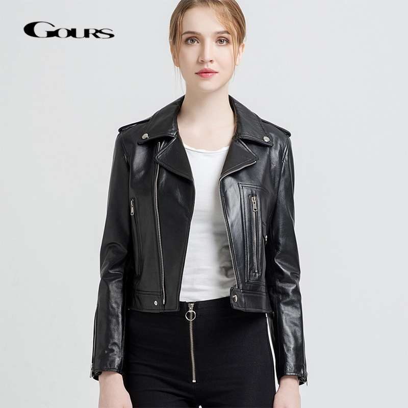 Gours Genuine Leather Jackets for Women Fashion Short Motorcycle Jacket Black Red Classic Punk Style Ladies Sheepskin Coats 227