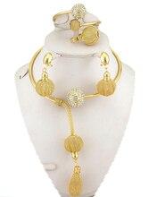 En venta nueva joyería africana fija sistemas de la joyería grande de alta calidad de boda joyería conjunto 18 k oro platd moda collar