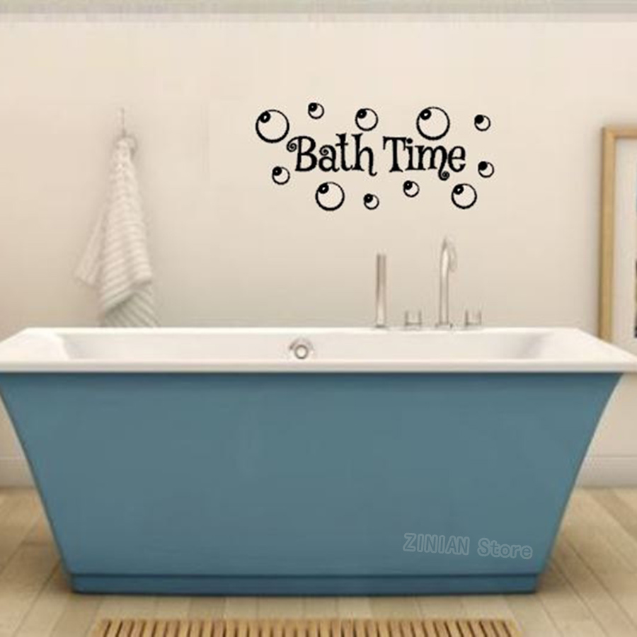 Bathroom Waterproof Wall Decal Bath Time With Bubbles