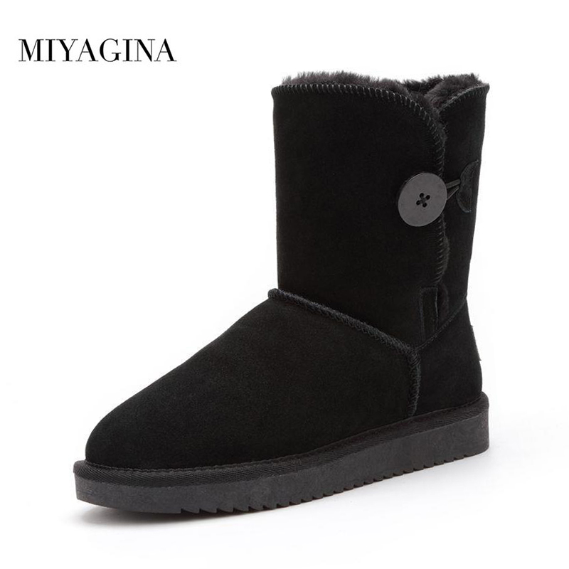 MIYAGINA High Quality Genuine Leather Australia Classic snow boots Wome