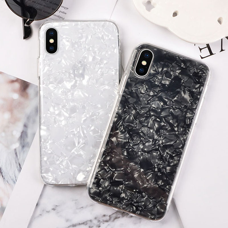 Fashion Bling Glossy Foil Sequins Phone Cases for iPhone X 8 7 6 6S Plus Case Smooth shellfish Texture Soft IMD TPU Back Cover