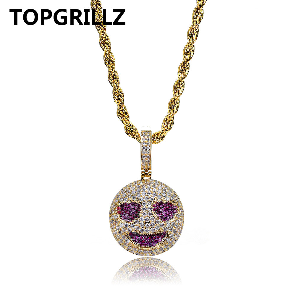 77a5e174c TOPGRILLZ Personalized Iced Out Emoji Pendant Necklace Gold Silver Chain  Hip Hop Jewelry With Tennis Chain Gifts for Men Women - aliexpress.com -  imall.com