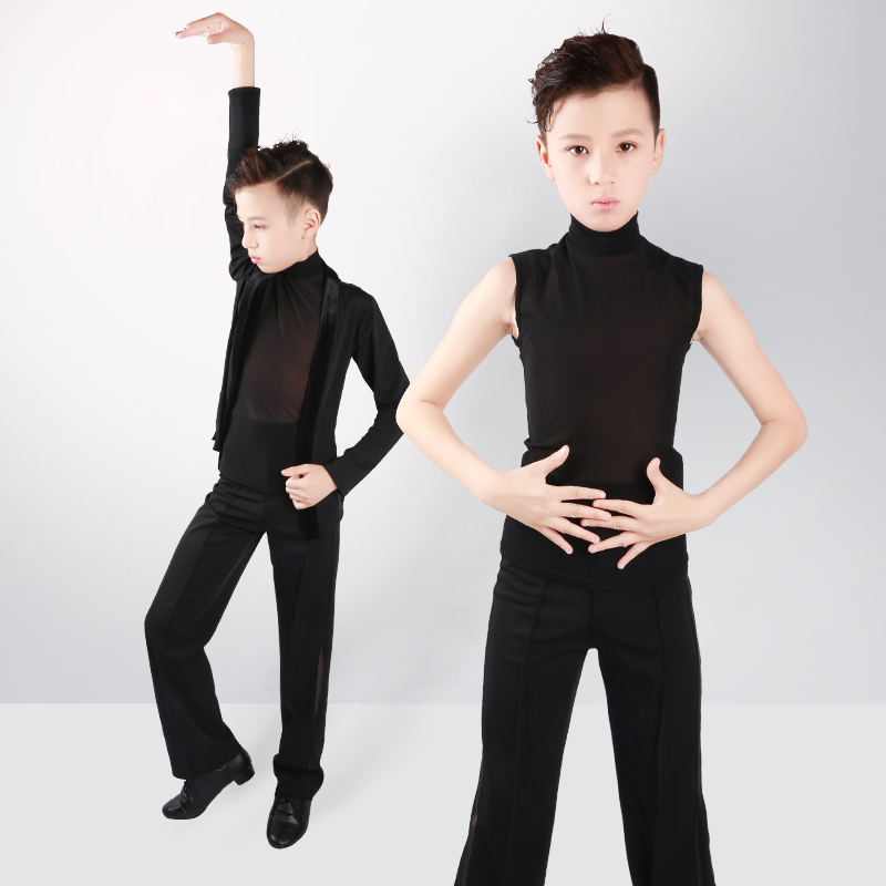 Boys Latin Dance Tops Shirts Black Stand Collar Cardigan 2 Pieces Suit Rumba Samba Dance Wear Kids Dance Competition Costumes