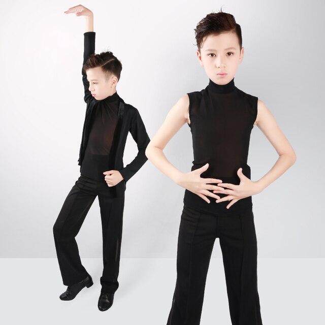 Boys Latin Dance Tops Shirts Black Stand Collar Cardigan 2 Pieces Suit Rumba Samba Dance Wear Kids Dance Competition Costumes