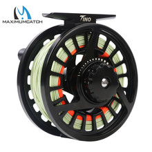 Maximumcatch High Quality Tino 5/6wt Die-casting Aluminum Fly Fishing Reel Black Color Fly Reel with 5/6wt Fly Line Combo