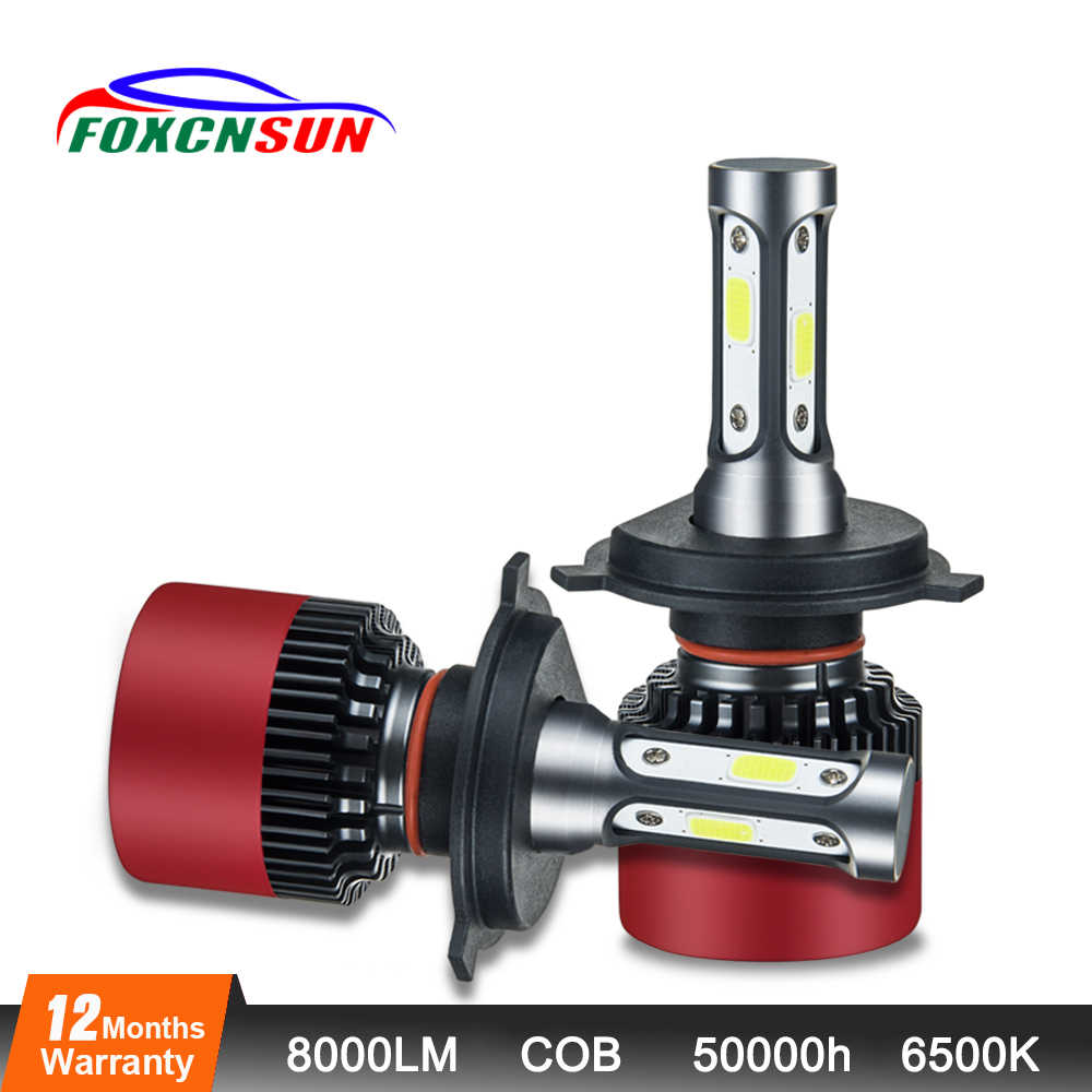 Foxcnsun 3-sided H1 H3 H4 H7 LED H11 9005 9006 9012 HB3 HB4 COB Car LED Headlight Bulbs 72W 8000LM 6500K Auto Headlamp 12v 24v