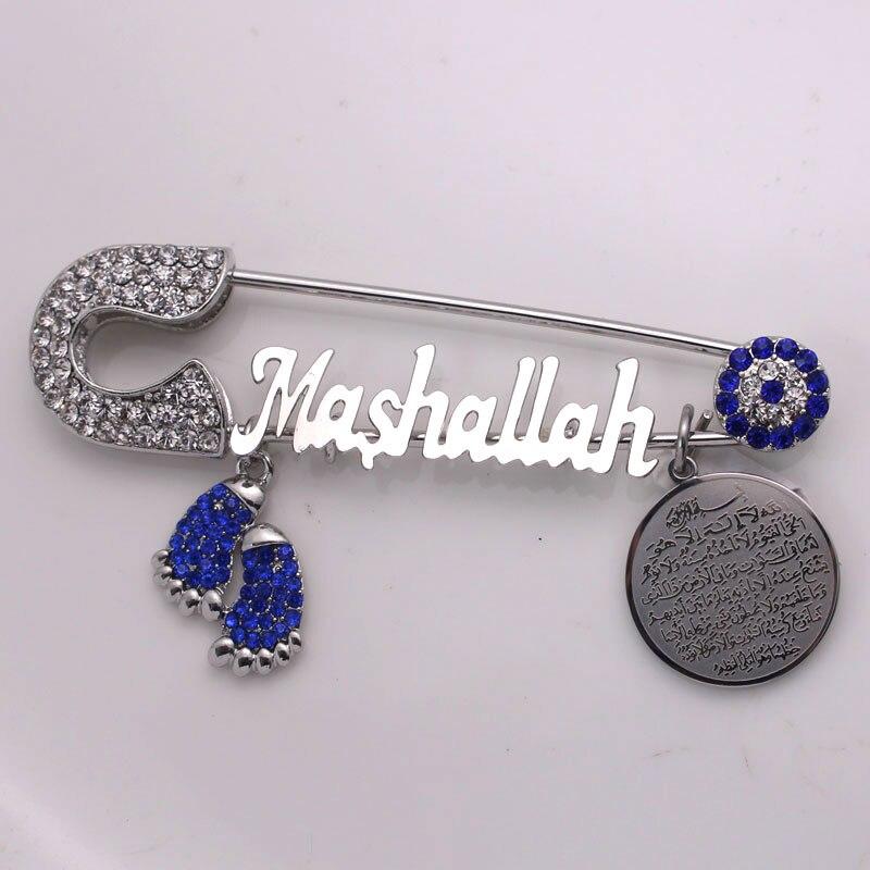 Muçulmanos turkish evil eye aço Inoxidável Mashallah broche muçulmano AYATUL KURSI pin bebê