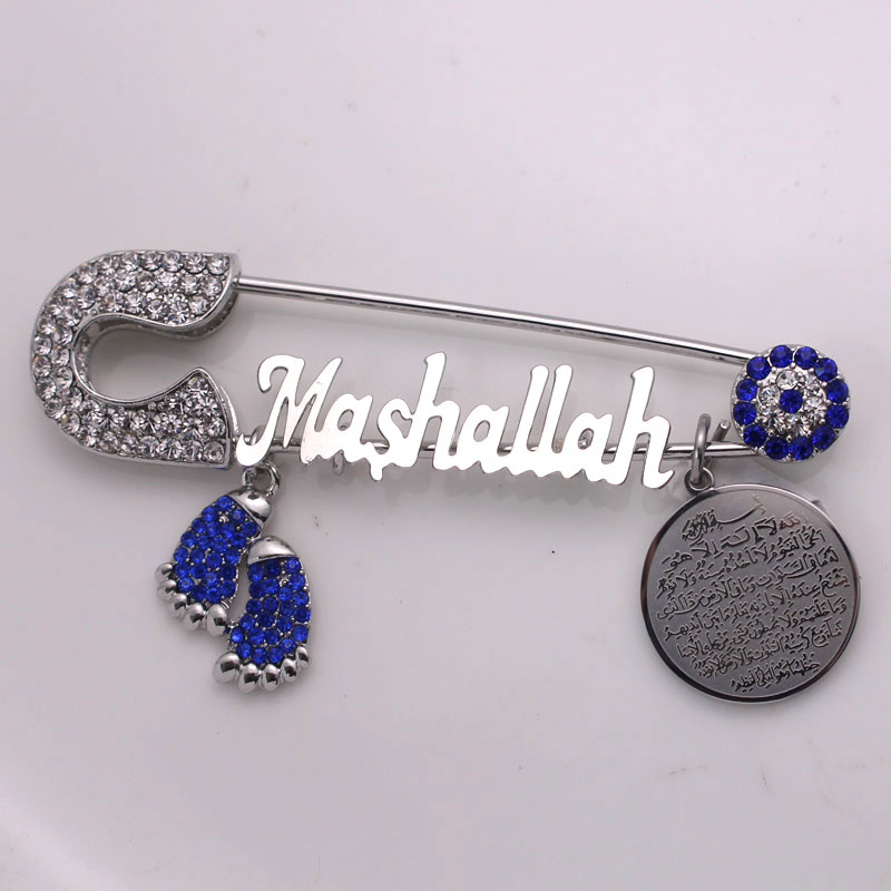 15ce96ec20c8 Cheap Musulmán turco mal de ojo Mashallah de acero inoxidable broche  musulmán AYATUL KURSI bebé pin