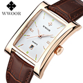 Fashion Top Brand WWOOR Men's Quartz  Watch with Leather Strap Rectangle Case Glow Hands Business Style Clock Relogio Masculino
