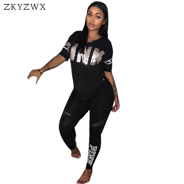 315adf02f1f ZKYZWX Plus Size Two Piece Set Women Sexy Short Sleeve Letter Print  Sweatsuits Top+Stretch Pants Sweat Suits Casual Tracksuit