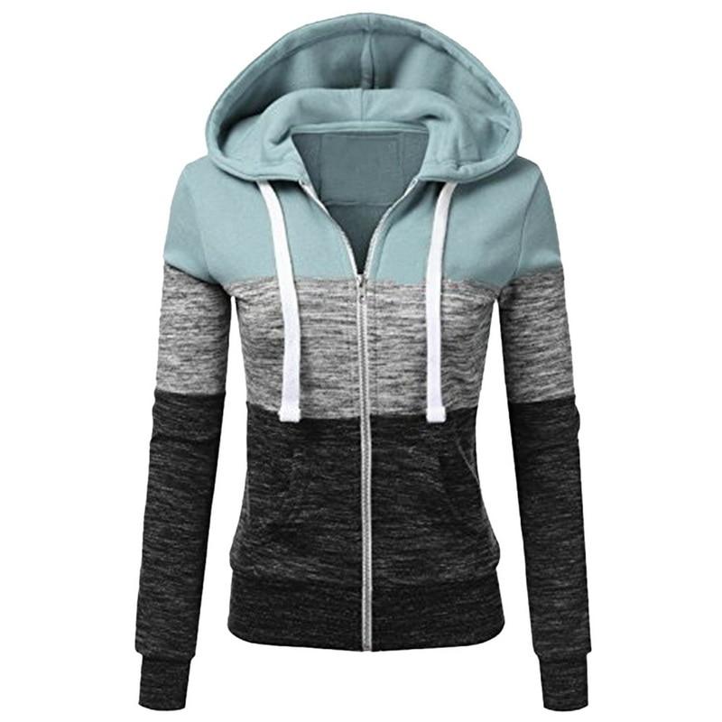 Womens Ladies Hoody Zip Up Pockets Long Sleeves Hoodies Sweatshirt Jacket Top