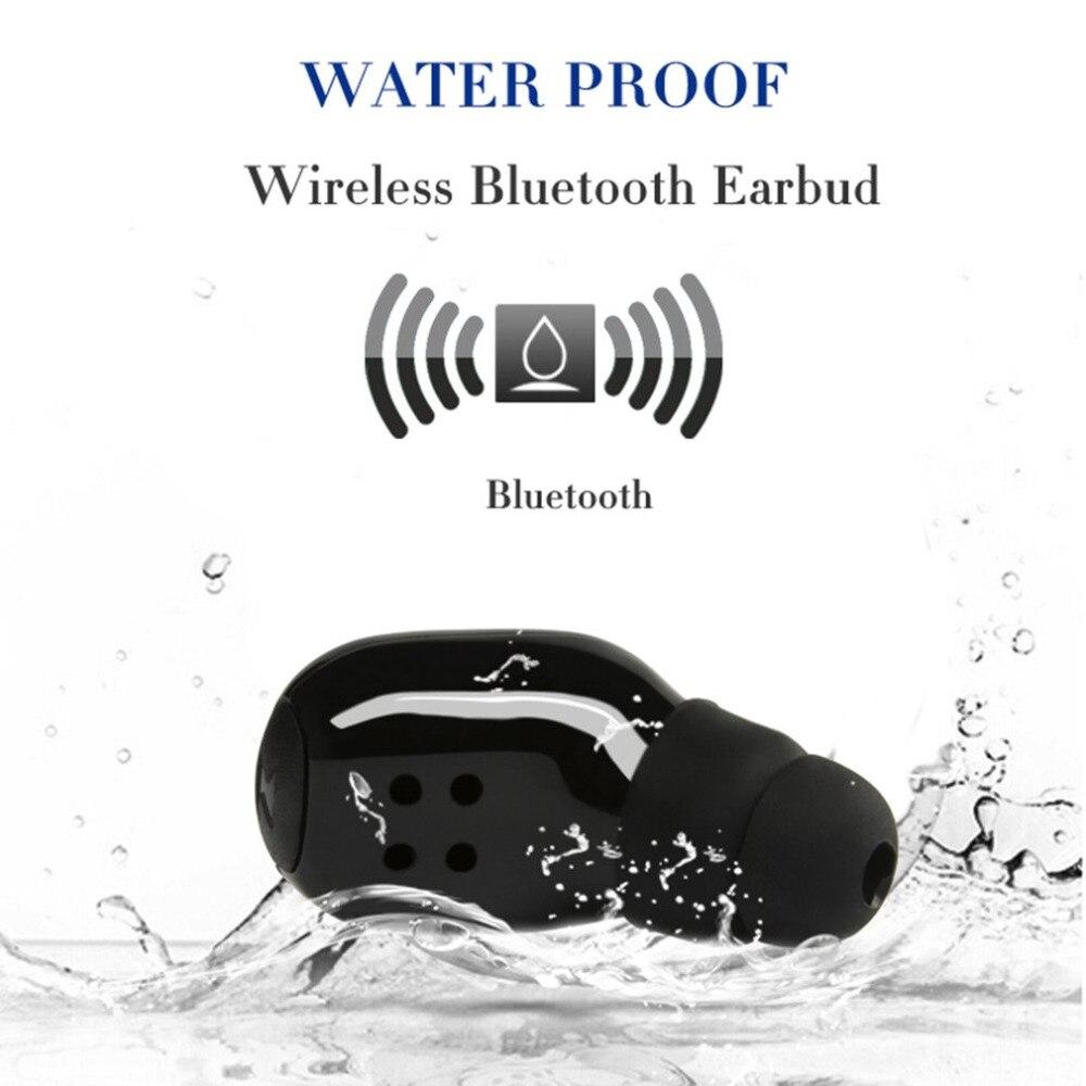 1 stück Wasserdichte Bluetooth Kopfhörer Drahtlose Bluetooth V4.1 Mini Leichte In-ohr Sport Kopfhörer mit Ladekabel Tragbare