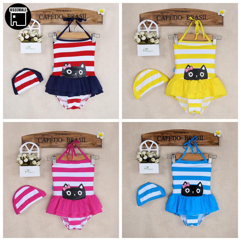 USEEMALL 4 Color Brand 2018 Summer Girls Swimwear Cheap Baby Kids Skirt Bathing Suits Cat Print One Piece Swimsuits for 2-6Years
