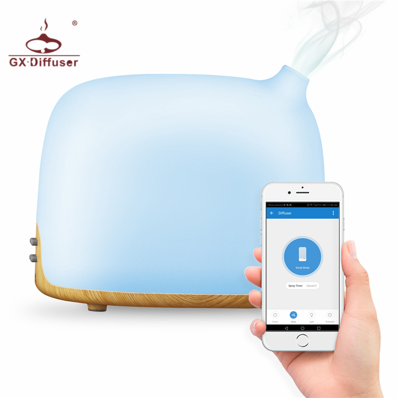 GX.Diffuser 300ML WiFi Smart Ultrasonic Humidifier APP 14 Color LED Air Purifier Essential Oil Diffuser With Google&Amazon Alexa