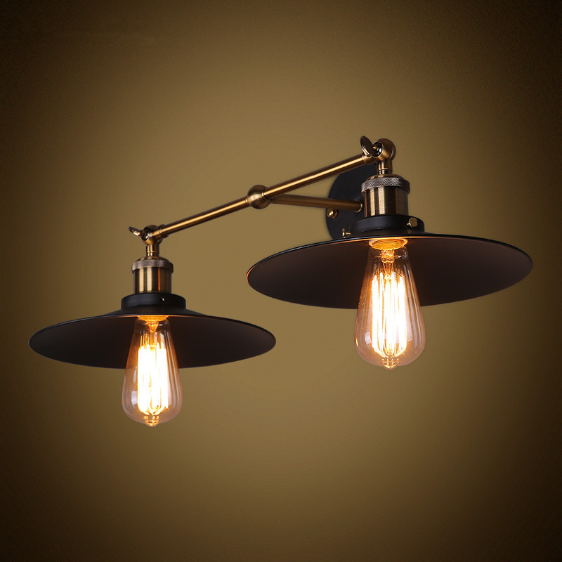 MODERN VINTAGE INDUSTRIAL LOFT METAL DOUBLE RUSTIC SCONCE WALL LIGHT WALL LAMP PTSP стоимость