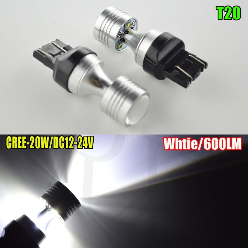 4pcs T20 W21/5W 7443 CREE 20W 600LM LED Car Turn Signal 21/5W Brake light bulb White Parking lights Auto Fog Lamps 12V-24V