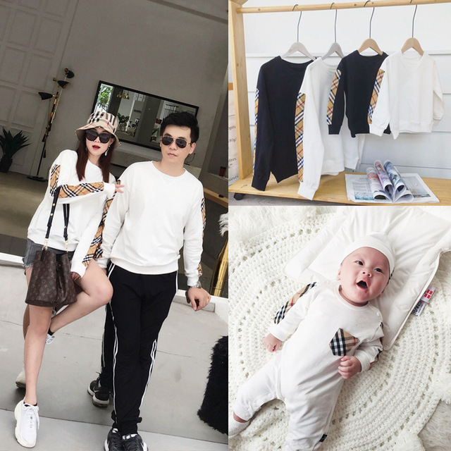 2018 family matching outfits mother daughter dad son sweater plaid white  jacket baby clothing infants romper fee7a260a