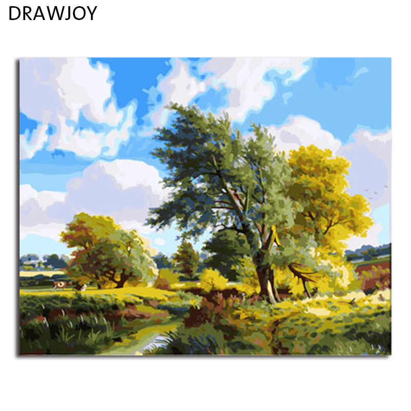 DRAWJOY Framed Home Decor Picture Painting By Numbers Landscape DIY Canvas Oil Painting Wall Art For Living Room Picture 40x50cm