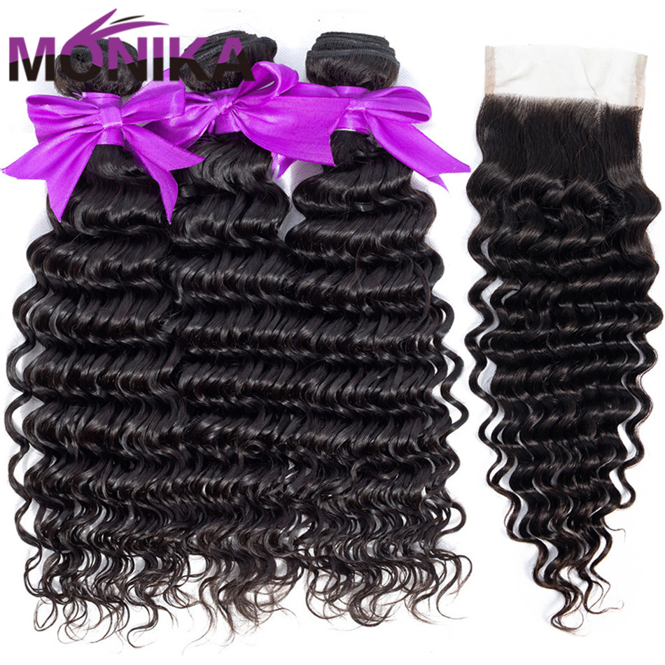 Monika Hair Deep Wave With Closure Malaysian Hair 4 3 Bundles With Closure Non Remy Human
