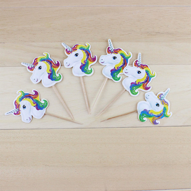 Online Shop 24 Pcs Unicorn Cake Cupcake Toppers Wedding Happy