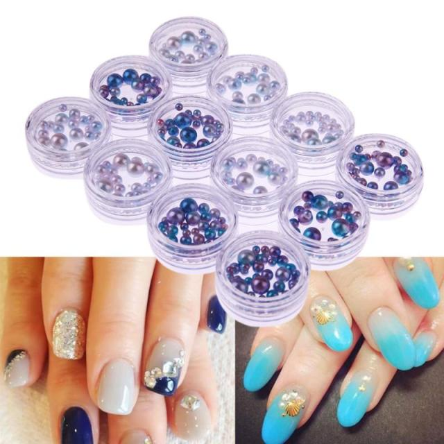 12bottles/Set Nail Art Pearl Artificial 3D Semi Circle Decorations ...