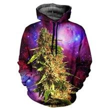 Hip Hop Cap Hoodies Men/Women 3d Sweatshirts Jacket Print Green Leaves Space Galaxy Hooded Hoodies Galaxy Hoody Plus S-6XL R343