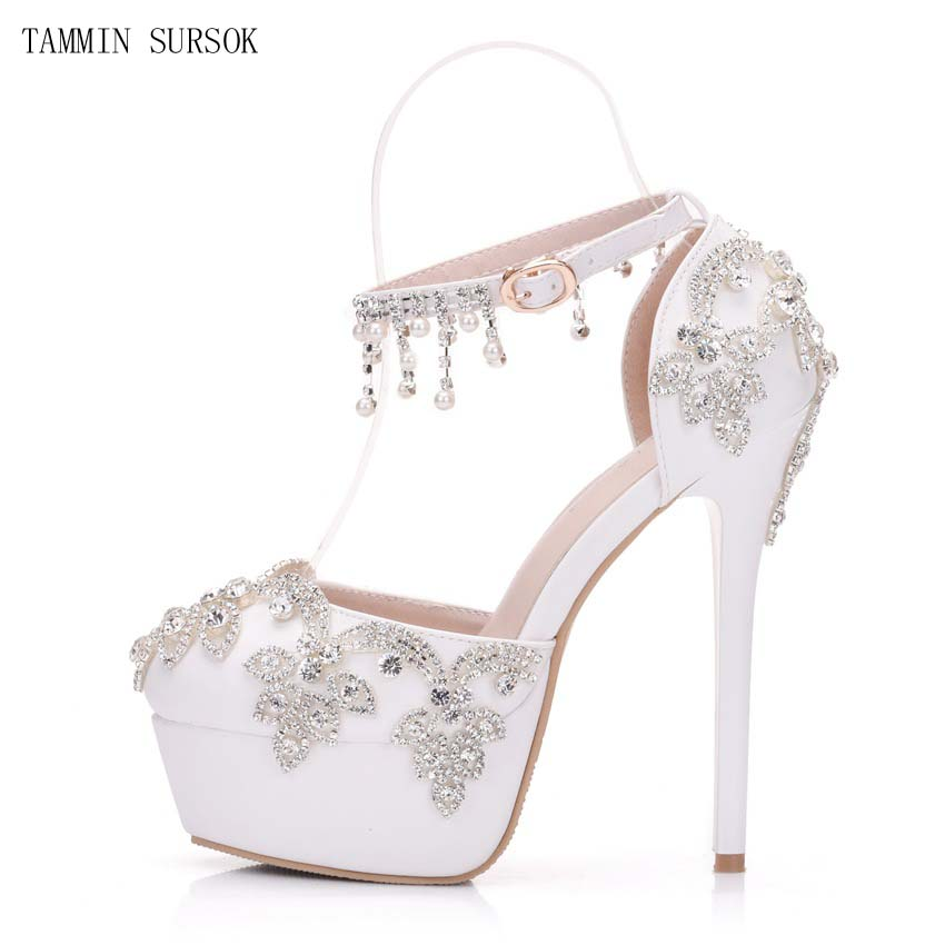 b2348bdd93 New Style 14cm Heel White Rhinestone Beaded Tassel Chain Ankle Buckle  Platform Women High Heel Shoes Wedding Shoes