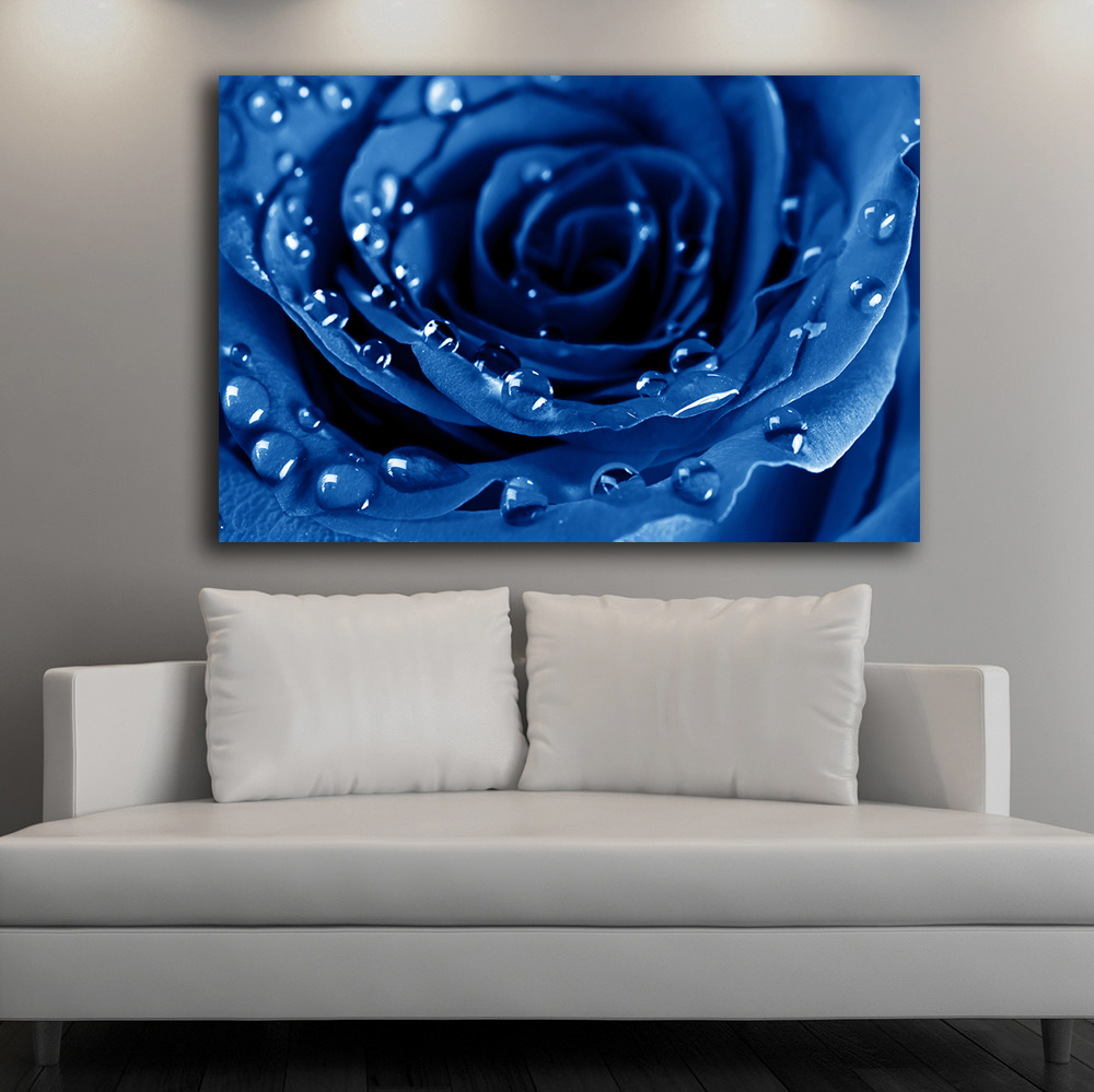 Large Size Wall Art Blue Roses And