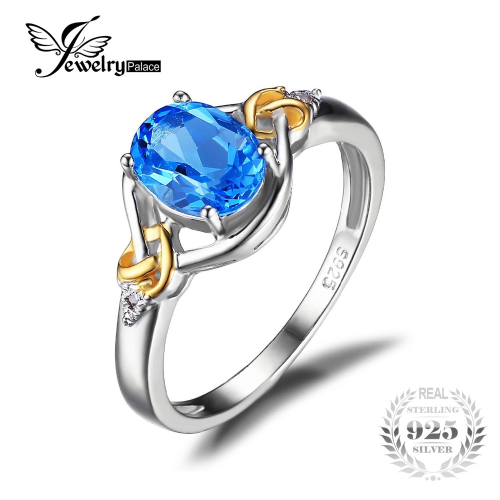 Jewelrypalace Love Knot 15ct Natural Blue Topaz Gemstone S925 Sterling  Silver 18k Yellow Gold Ring