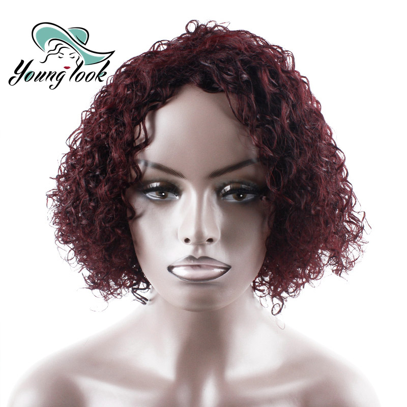 YOUNG LOOK HAIR Short Human Hair Wigs Remy Human Hair Curly Wigs Machine Made DRGH-6829 No Smell Wigs 14 Inch #99J Non Lace Wig