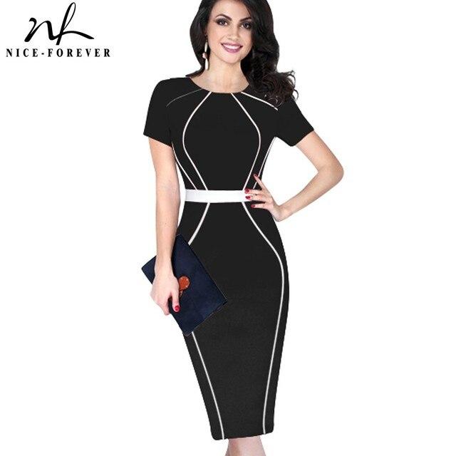 Nice-forever Women Elegant Colorblock Contrast Patchwork Short Sleeve 2017 Slim Tunic Wear to Work Office Business Dress B389