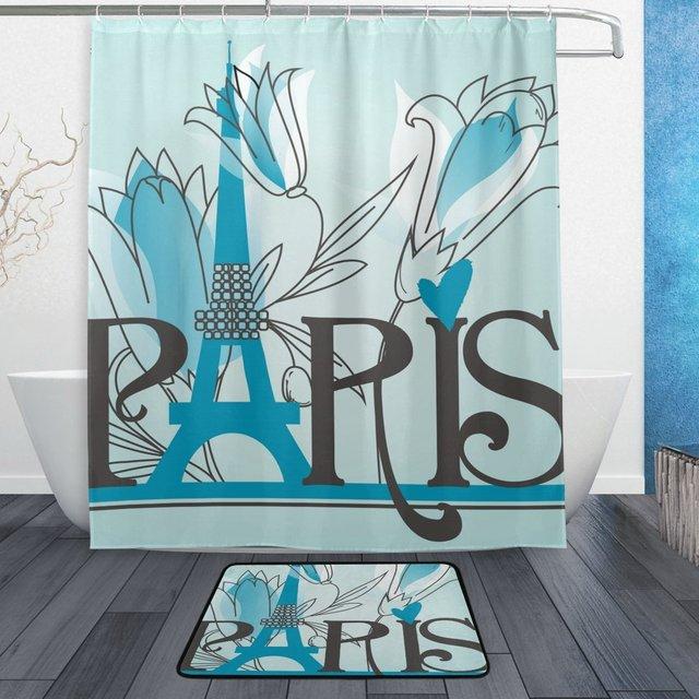 Romantic Paris Shower Curtain And Mat Set Flower Eiffel Tower Waterproof Fabric Bathroom