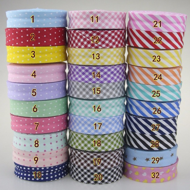 Free shipment 100% Cotton Bias tape dots,stripes, checks patterns printe bias tape 20mm,10meter spots Scottish twill fabric fold
