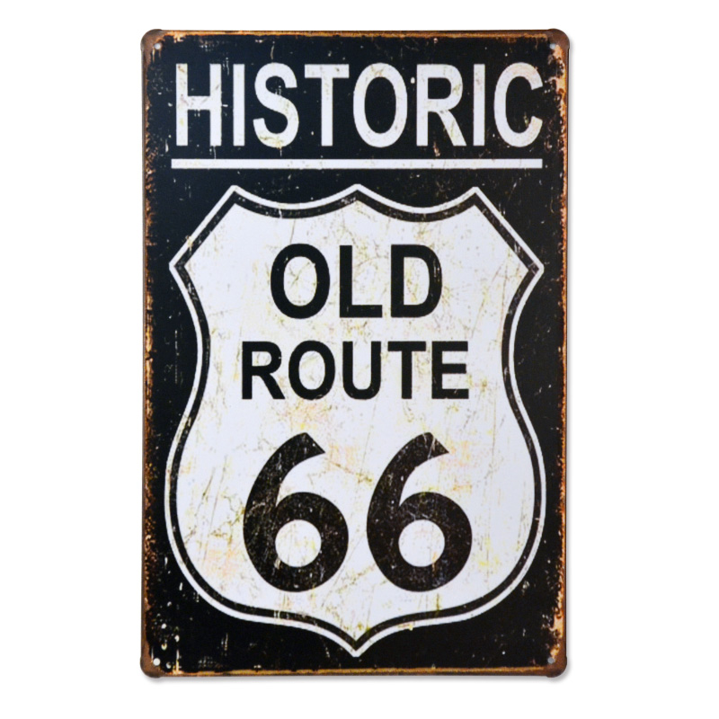 Historic OLD Route 66 Freedom Vintage Metal Signs Antique Motor Oil Rustic Wall Decor Garage Bar Office Craft Iron Painting Art In Plaques From Home
