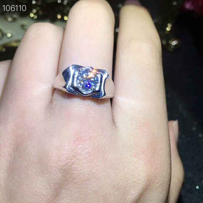 MeiBaPJ 1 قيراط/6.5 مللي متر التألق المويسانتي الأحجار الكريمة الكلاسيكية خاتم بسيط للرجال 925 فضة غرامة مجوهرات الزفاف