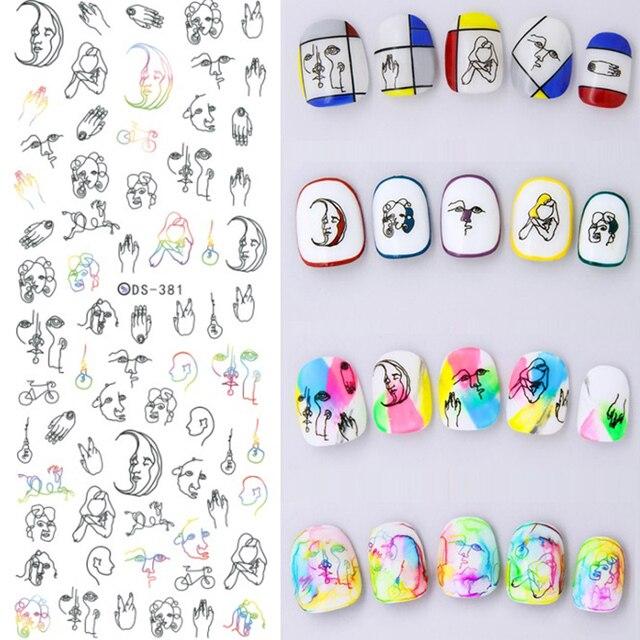 1 Hoja de la Etiqueta engomada de Agua pintada a Mano Abstracta de Manicura 12.8*5.4 Cm Transferencia Nail Art Sticker Decal Decoración DS-381
