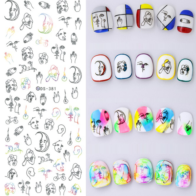 1 Sheet Water Sticker Decal Abstract Hand-painted Manicure 12.8*5.4Cm Nail Art Transfer Sticker Decoration Decal DS-381