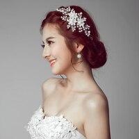 Bridal Crown wood Lady Adjustable Champagne Lace Wreath Artificial Flower Beach Wedding Flower Headband Hair Wreath Head Women