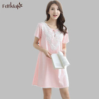 Dresses 2017 Summer Ladies Fashion Princess Nightgown Cotton Sleepwear Women Sexy Nightwear Short Sleeve Nightgowns Women E1217