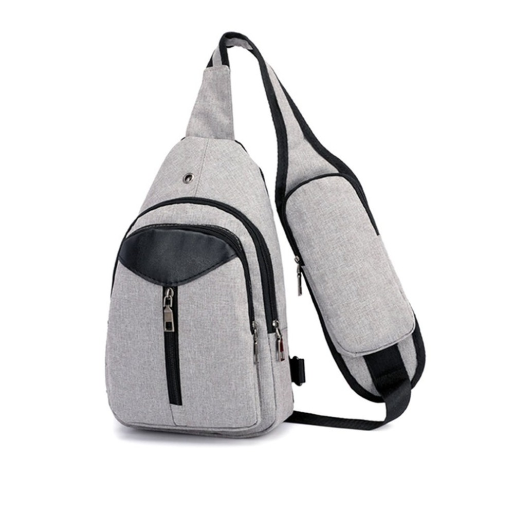 Multifunctional Men Chest Pack Single Shoulder Strap Back Bag Travel Crossbody Bags with USB Charging Port Riding Bag