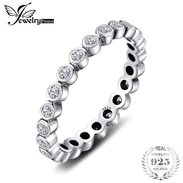 Jewelrypalace 100% Solid 925 Sterling Silver Rings Cubic Zirconia Jewelry CZ Sta