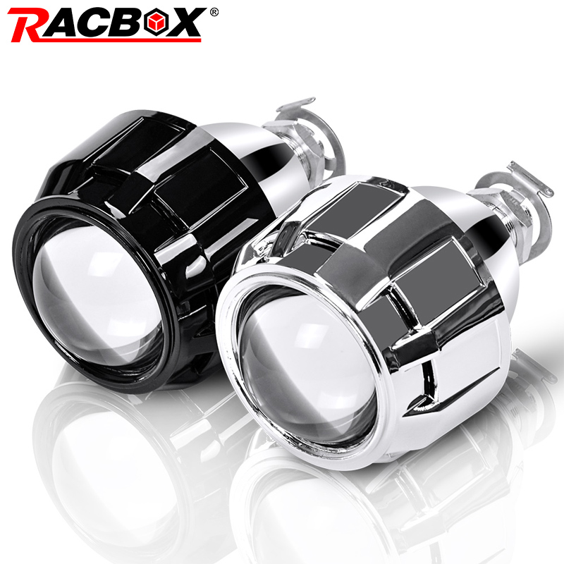 RACBOX 2 piezas 2,5 pulgadas Universal Bi Xenón HID lente del proyector negro plata cubierta H1 xenón bombilla LED H4 H7 coche de la motocicleta faro