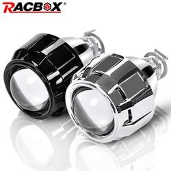 RACBOX 2 sztuk 2.5 Cal uniwersalny bi Xenon obiektyw projektora hid srebrny czarny całun H1 Xenon LED żarówka H4 H7 motocykl reflektor samochodowy w Akcesoria do świateł samochodowych od Samochody i motocykle na