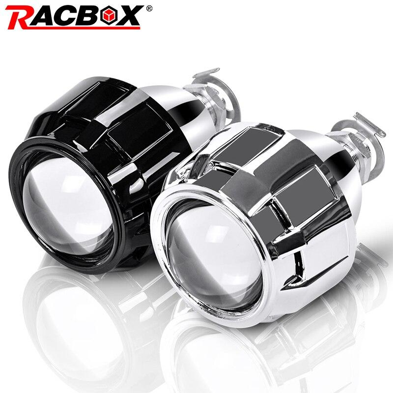 RACBOX 2Pcs 2.5 Polegada Universal xenon Bi ESCONDEU Lente Do Projetor Mortalha Prata Preto H1 Xenon Lâmpada LED H4 H7 motocicleta Farol Do Carro